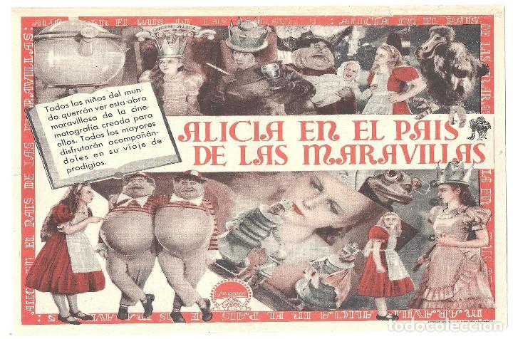 Cine: PTEB 008 ALICIA EN EL PAIS DE LAS MARAVILLAS PROGRAMA DOBLE PARAMOUNT GARY COOPER CARY GRANT - Foto 2 - 132589310