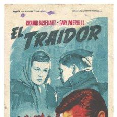 Cine: PTCC 013 EL TRAIDOR PROGRAMA SENCILLO 2OTH CENTURY FOX SOLIGO RICHARD BASEHART NO ESTRENADA. Lote 132636538