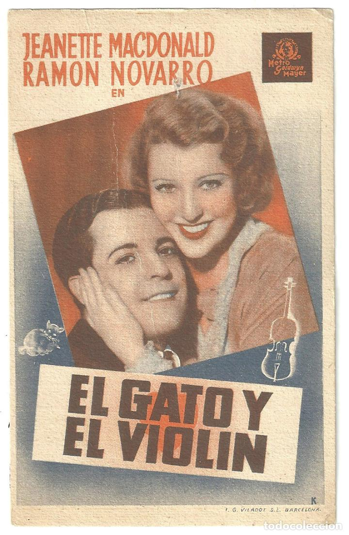 PTEB 009 EL GATO Y EL VIOLIN PROGRAMA TARJETA MGM JEANETTE MACDONALD RAMON NOVARRO (Cine - Folletos de Mano - Comedia)