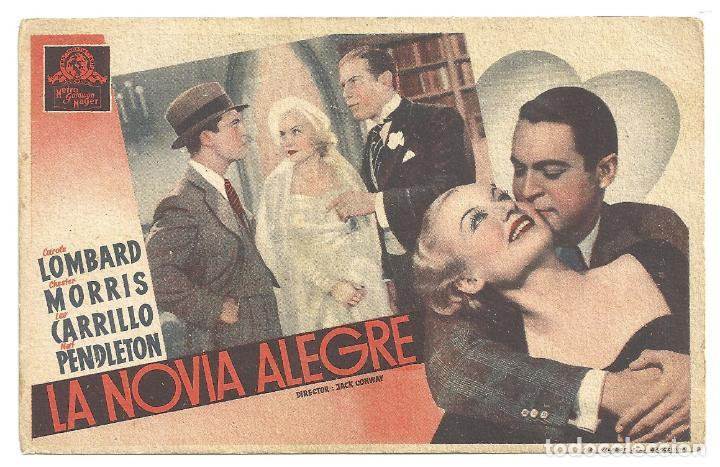 PTEB 009 LA NOVIA ALEGRE PROGRAMA TARJETA MGM CAROLE LOMBARD CHESTER MORRIS (Cine - Folletos de Mano - Comedia)