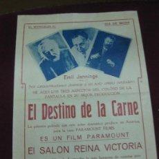 Cine: PROGRAMA DE CINE - CARTEL.EL DESTINO DE LA CARNE. EMIL JANNINGS. PARAMOUNT FILMS. . Lote 132714354