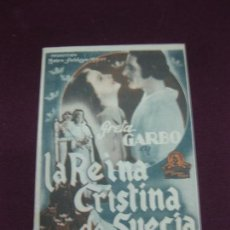 Cine: PROGRAMA DE CINE. LA REINA CRISTINA DE SUECIA. GRETA GARBO. CINEMA VALLS 1942.. Lote 132720254