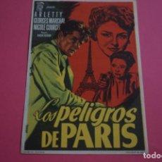 Cine: FOLLETO DE MANO PROGRAMA DE CINE LOS PELIGROS DE PARIS SIN PUBLICIDAD LOTE 13 MIRAR FOTO. Lote 132824094