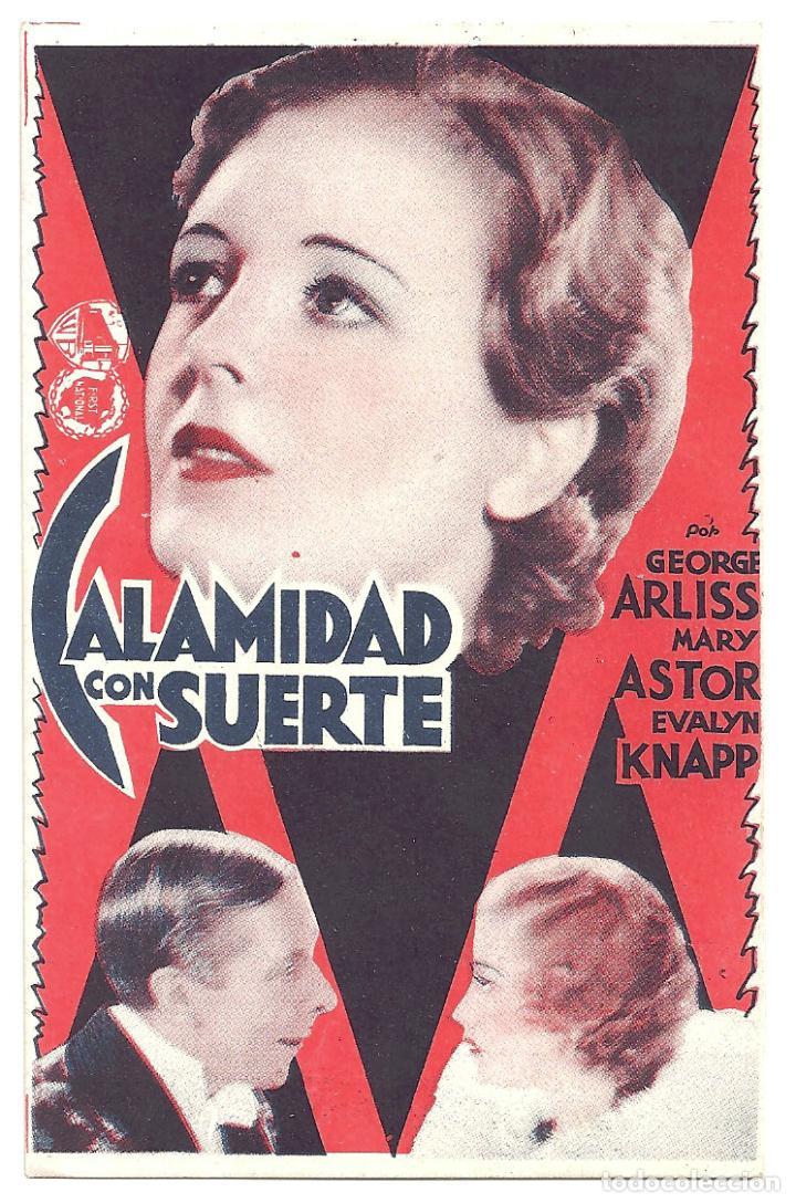 PTEB 011 CALAMIDAD CON SUERTE PROGRAMA TARJETA WARNER GEORGE ARLISS MARY ASTOR RANDOLPH SCOTT (Cine - Folletos de Mano - Drama)