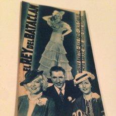 Cine: EL REY DEL BATACLÁN, 1936 - TARJETA FOLLETO PROGRAMA DE MANO ORIGINAL DE LA PELICULA. Lote 132904673