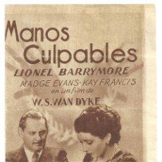 Cine: PTEB 012 MANOS CULPABLES PROGRAMA DOBLE MGM LIONEL BARRYMORE MADGE EVANS KAY FRANCIS. Lote 132937098