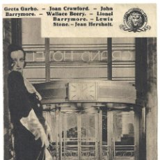 Cine: PTEB 012 GRAND HOTEL PROGRAMA DOBLE MGM GRETA GARBO JOAN CRAWFORD JOHN BARRYMORE WALLACE BEERY. Lote 132938562
