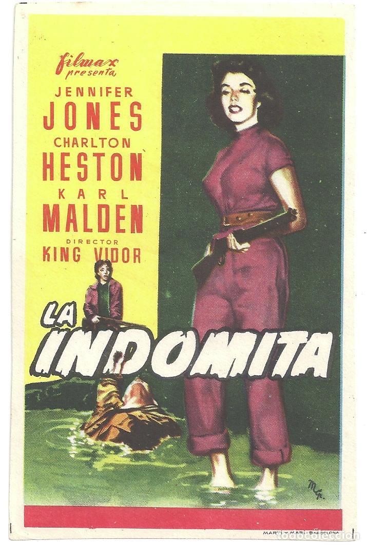 PTEB 013 LA INDOMITA PROGRAMA SENCILLO FILMAX JENNIFER JONES CHARLTON HESTON KARL MALDEN KING VIDOR (Cine - Folletos de Mano - Drama)