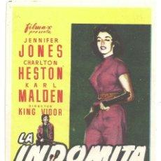 Cine: PTEB 013 LA INDOMITA PROGRAMA SENCILLO FILMAX JENNIFER JONES CHARLTON HESTON KARL MALDEN KING VIDOR. Lote 132960722