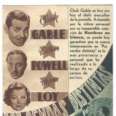 Cine: PTEB 015 POR SENDAS DISTINTAS / ENEMIGO PUBLICO NUMERO 1 PROGRAMA DOBLE MGM CLARK GABLE LOY NO ESTRE. Lote 132992126