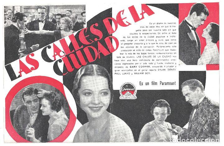 Cine: PTEB 015 LAS CALLES DE LA CIUDAD PROGRAMA DOBLE PARAMOUNT GARY COOPER SYLVIA SIDNEY PAULETTE GODDARD - Foto 2 - 132993138