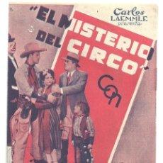 Cine: PTCC 014 EL MISTERIO DEL CIRCO PROGRAMA DOBLE UNIVERSAL FRANCIS X BUSHMAN JR ALBERTA VAUGHN. Lote 133004422