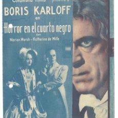 Cine: PTEB 018 HORROR EN EL CUARTO NEGRO PROGRAMA DOBLE COLUMBIA BORIS KARLOFF MARIAN MARSH. Lote 133005226