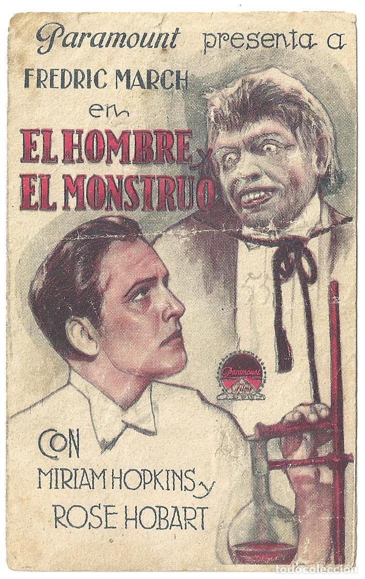 PTEB 018 EL HOMBRE Y EL MONSTRUO PROGRAMA DOBLE PARAMOUNT FREDRIC MARCH MIRIAM HOPKINS (Cine - Folletos de Mano - Terror)