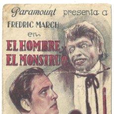 Cine: PTEB 018 EL HOMBRE Y EL MONSTRUO PROGRAMA DOBLE PARAMOUNT FREDRIC MARCH MIRIAM HOPKINS. Lote 133010034