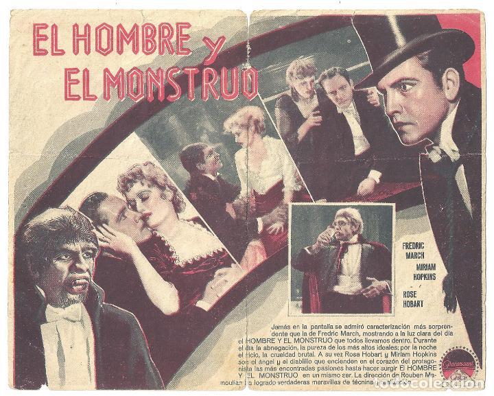 Cine: PTEB 018 EL HOMBRE Y EL MONSTRUO PROGRAMA DOBLE PARAMOUNT FREDRIC MARCH MIRIAM HOPKINS - Foto 2 - 133010034