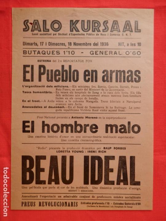 BEAU IDEAL, EL HOMBRE MALO, LOCAL, LORETA YOUNG, SALO KURSAAL REUS 1936 (Cine - Folletos de Mano - Documentales)