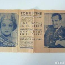 Cine: UNA NOCHE EN EL CAIRO. RAMÓN NOVARRO. MYRNA LOY. FORMATO GRANDE CON PUBLICIDAD (33 X 17,5 CM). Lote 133052834