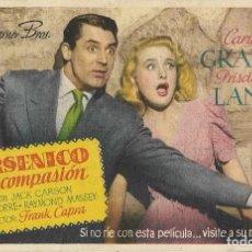 Cine: PROGRAMA DE CINE - ARSÉNICO POR COMPASIÓN - CARY GRANT, PRISCILLA LANE - TEATRO CIRCO - 1949. Lote 133091002