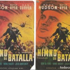 Cine: 2 PROGRAMAS DE CINE - HIMNO DE BATALLA - ROCK HUDSON - VARIANTE - 1960. Lote 133098974