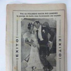 Cine: VOLANDO HACÍA RÍO DE JANEIRO. DOBLE CON PUBLICIDAD. FORMATO GRANDE. (25 X 18 CM). Lote 133150606