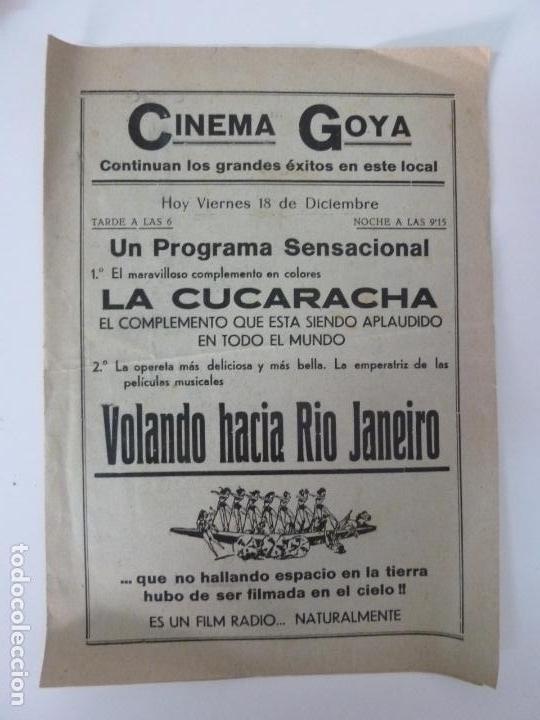 Cine: VOLANDO HACÍA RÍO DE JANEIRO. DOBLE CON PUBLICIDAD. FORMATO GRANDE. (25 X 18 CM) - Foto 2 - 133150606