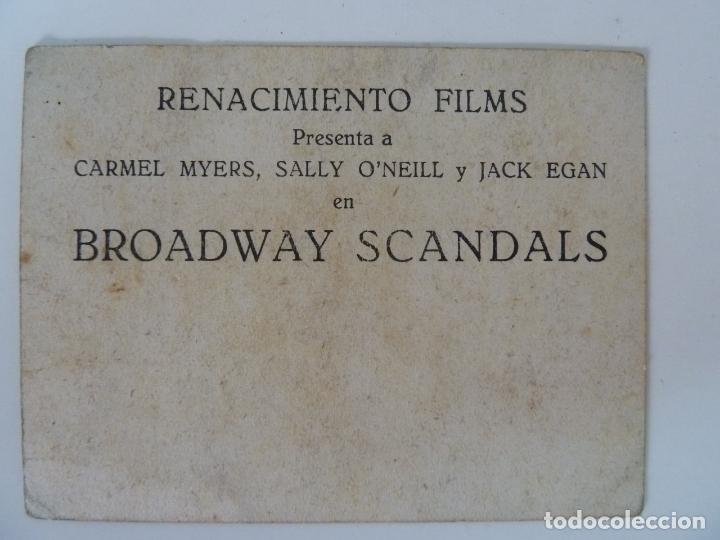 Cine: BROADWAY SCANDALS. TARJETA RENACIMIENTO FILMS. SENCILLO - Foto 2 - 133158714