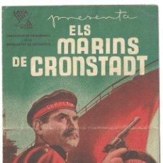 Cine: PTCC 016 LOS MARINOS DE KRONSTADT CINE RUSO PROGRAMA DOBLE LAYA FILMS EN CATALAN. Lote 133195194