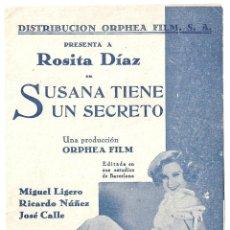 Cine: PTCC 018 SUSANA TIENE UN SECRETO PROGRAMA DOBLE ORPHEA FILM CINE ESPAÑOL ROSITA DIAZ LIGERO. Lote 133223542