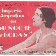 Cine: PTCC 018 SU NOCHE DE BODAS PROGRAMA DOBLE PARAMOUNT IMPERIO ARGENTINA MIGUEL LIGERO. Lote 133223570