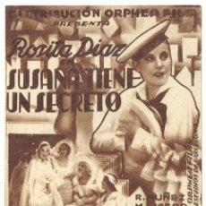 Cine: PTCC 018 SUSANA TIENE UN SECRETO PROGRAMA DOBLE ORPHEA FILM CINE ESPAÑOL ROSITA DIAZ LIGERO. Lote 133223934