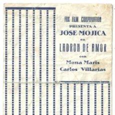 Cine: PTCC 018 LADRON DE AMOR PROGRAMA DOBLE CANCIONERO FOX JOSE MOJICA MONA MARIS. Lote 133225170