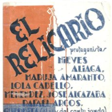 Cine: PTCC 018 EL RELICARIO PROGRAMA DOBLE HISPANIA FILMS CINE ESPAÑOL RICARDO DE BAÑOS NIEVES ALIAGA. Lote 133227782