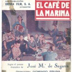 Cine: PTCC 018 EL CAFE DE LA MARINA PROGRAMA DOBLE ORPHEA FILM CINE ESPAÑOL RAFAEL RIVELLES. Lote 133229630