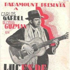 Cine: PTCC 018 LUCES DE BUENOS AIRES PROGRAMA DOBLE PARAMOUNT CARLOS GARDEL GLORIA GUZMAN. Lote 133235006