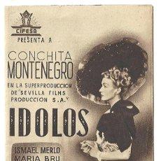 Cine: PTCC 020 IDOLOS PROGRAMA DOBLE CANCIONERO PEQUEÑO MARRÓN CIFESA CINE ESPAÑOL CONCHITA MONTENEGRO. Lote 133236522