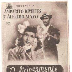Cine: PTCC 020 DELICIOSAMENTE TONTOS PROGRAMA DOBLE CIFESA MARRON CINE ESPAÑOL AMPARO RIVELLES MAYO. Lote 133238238