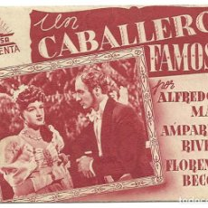 Cine: PTCC 020 UN CABALLERO FAMOSO PROGRAMA DOBLE CIFESA ROJO CINE ESPAÑOL AMPARO RIVELLES ALFREDO MAYO. Lote 133240346