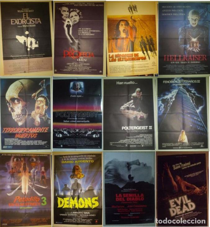 COLECCION DE 14 POSTERS ORIGINALES PELICULAS DE MIEDO ANTIGUAS --70X100 CM APROX CADA UNO (Cine - Folletos de Mano - Terror)