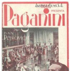 Cine: PTEB 023 PAGANINI PROGRAMA DOBLE IBERICA FILMS IVAN PETROVICH ELIZA ILLIARD. Lote 133319818