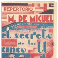 Cine: PTEB 023 EL SECRETO DE LAS CINCO LLAVES PROGRAMA DOBLE REPERTORIO M DE MIGUEL CARLO ALDINI WEYHER. Lote 133335318
