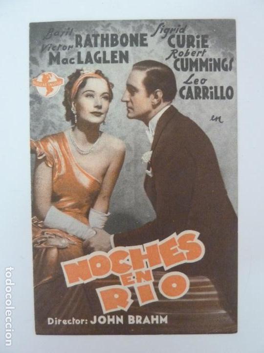 NOCHES EN RÍO. DOBLE CON PUBLICIDAD (Cine - Folletos de Mano - Comedia)