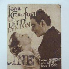 Cine: LETTY LYNTON. JOAN CRAWFORD. DOBLE. SELLO CINE. Lote 133338550