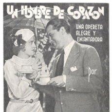 Cine: PTEB 023 UN HOMBRE DE CORAZON PROGRAMA DOBLE HUET GUSTAV FROHLICH. Lote 133341542