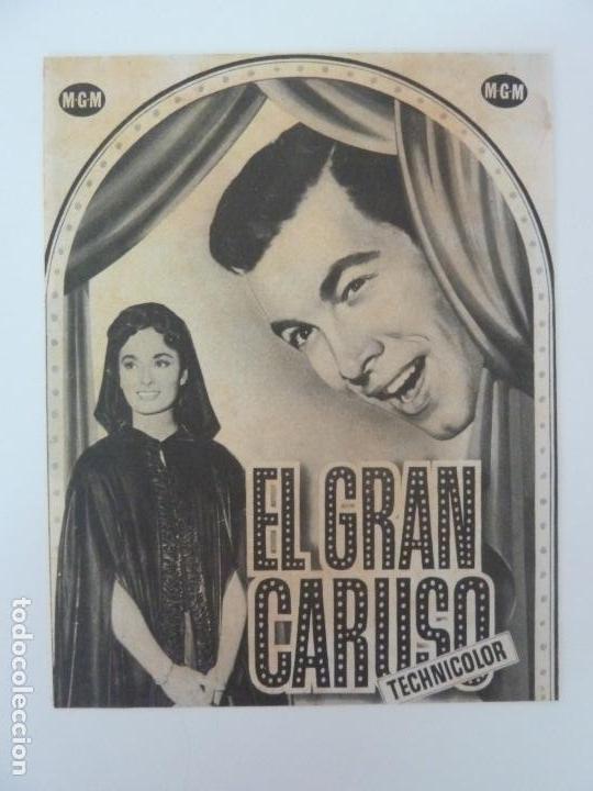EL GRAN CARUSO. MARÍO LANZA. DOBLE CON PUBLICIDAD (Cine - Folletos de Mano - Musicales)
