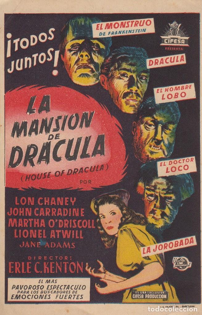 LA MANSION DE DRACULA CIFESA I G VILADOR SL BARCELONA ERLE C KENTON FOLLETO PROPAGANDA (Cine - Folletos de Mano - Terror)