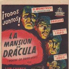 Cine: LA MANSION DE DRACULA CIFESA I G VILADOR SL BARCELONA ERLE C KENTON FOLLETO PROPAGANDA. Lote 133418698