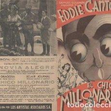 Cine: PROGRAMA DE CINE DOBLE. EL CHICO MILLONARIO CON PUBLICIDAD. Lote 133443090