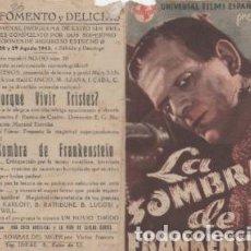 Cine: PROGRAMA DE CINE DOBLE. LA SOMBRA DE FRANKENSTEIN CON PUBLICIDAD FOMENTO Y DELICIAS. Lote 133443430
