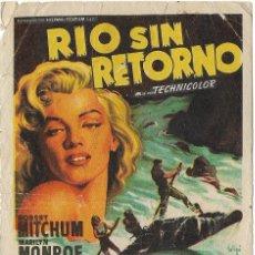 Cine: PROGRAMA DE CINE - RIO SIN RETORNO - ROBERT MITCHUM, MARILYN MONROE - CINE RETIRO - 1957. Lote 133490338